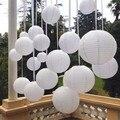 """10 pçs/set 6 polegadas 6 """"15 cm Lanternas de Papel Chinesas Brancas Para Decoração de Casamento Festa de Suprimentos Bola De Papel de Suspensão Branco CONDUZIU a Lâmpada"""