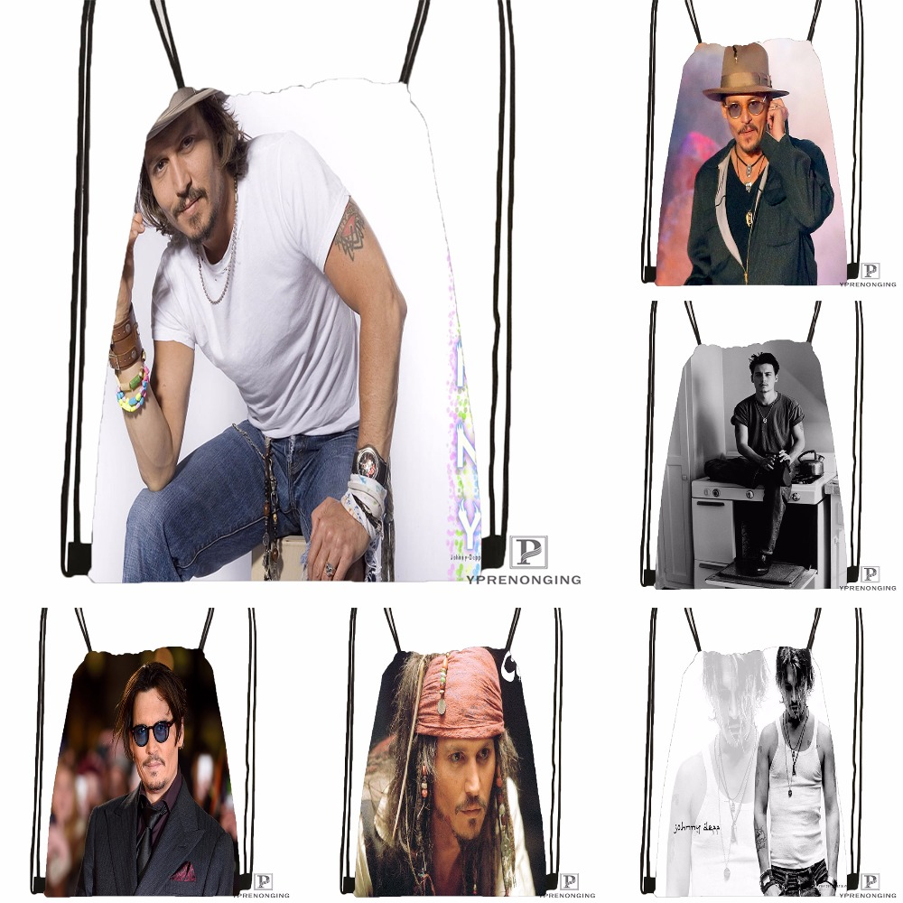 Custom Johnny Deep #1 Drawstring Backpack Bag Cute Daypack Kids Satchel (Black Back) 31x40cm#180531-02-24