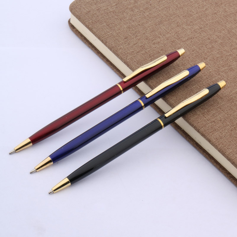 Writing Stationary Blue Black Red Classic Style Metal Student Ballpoint Pen