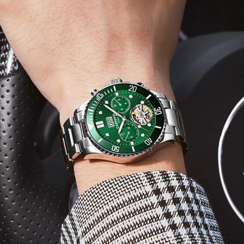 Carnival tourbillon men watch luminous luxury brand mechanical watches men full steel clock reloj waterproof relogio montre 2019