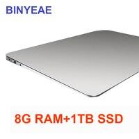 BINYEAE 15,6 дюймов ноутбук с 8 г оперативная память 1 ТБ SSD Игровые ноутбуки Ultrabook intel j3455 4 ядра тетрадь компьютер 1920*1080 P FHD