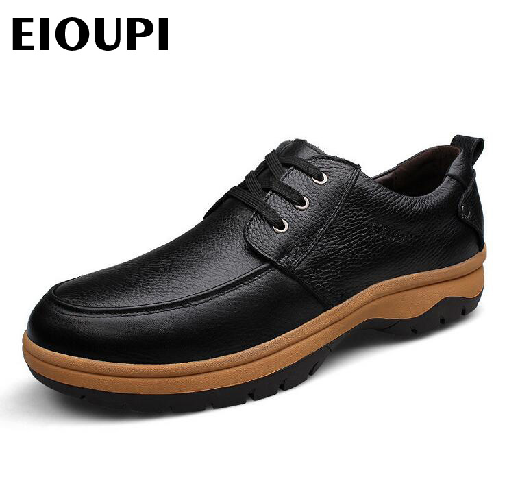 EIOUPI new design top oxfords real full grain leather mens formal business shoe men dress breathable shoes lh989 top quality crocodile grain black oxfords mens dress shoes genuine leather business shoes mens formal wedding shoes