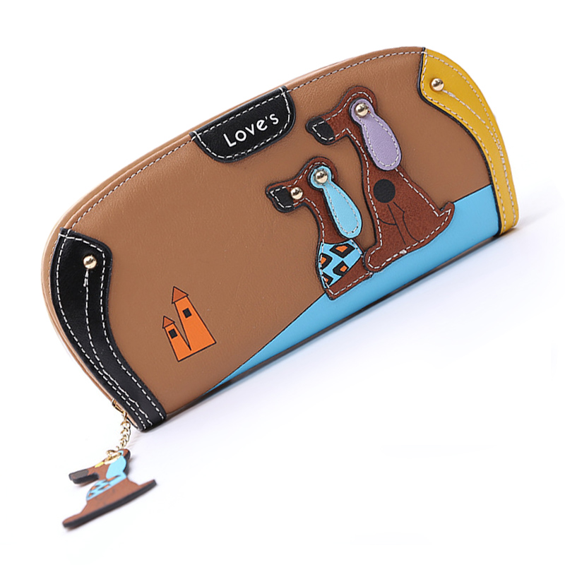 VSEN Hot New Arrive Fashion Cute Puppy Zipper Long Wallet Cartoon Dog 6 Colors PU Leather Women Wallets Ladies Clutch Card Hol