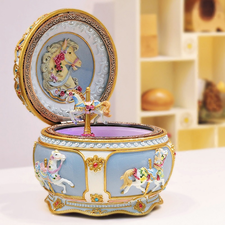 New Lovely Carousel Music Box with Sound Control LED Flash Lights Creative Birthday Valentine's Day Gifts for Girl Friend Kids
