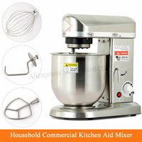Electric Kitchen Aid Mixer Household Commercial Stainless Steel Dough Kneading Mixer Egg Beater 500W 7L