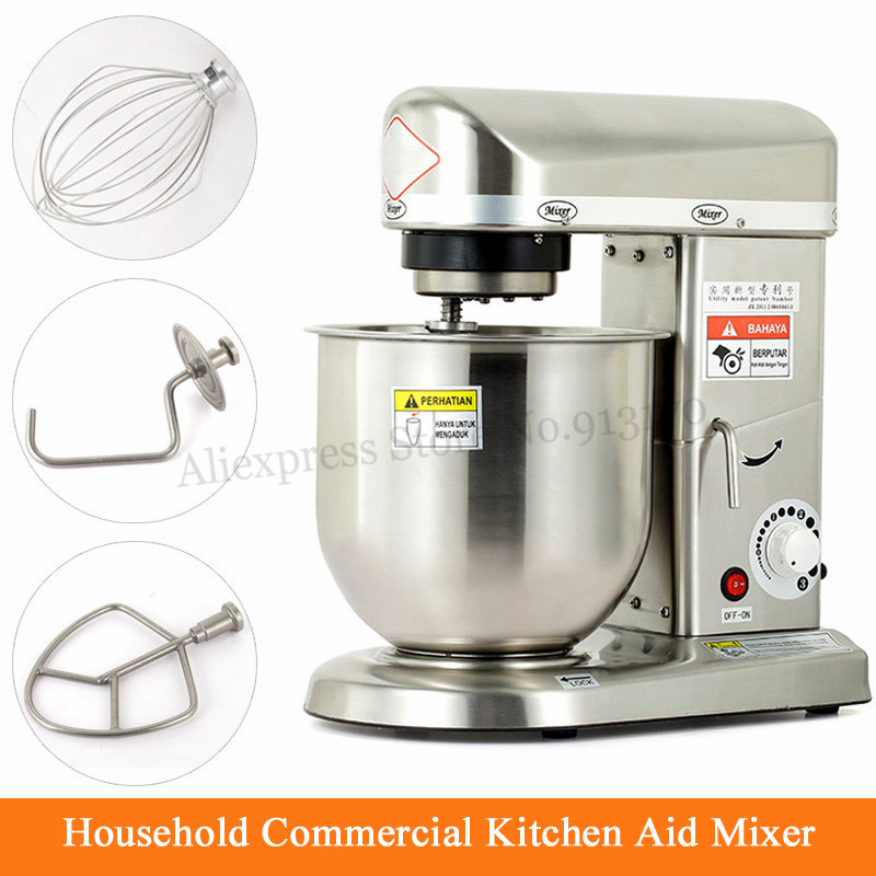 Electric Kitchen Aid Mixer Household Commercial Stainless Steel Dough Kneading Mixer Egg Beater 500W 7L цена 2017