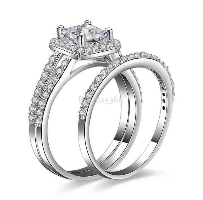 1 carat sterling argent de mode SONA cristal anneau de mariage anniversaire bague en argent ensembles de bijoux
