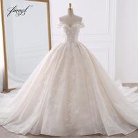 Fmogl пикантное романтичное кружевное бальное платье Свадебные платья 2019 аппликация цветной бисер Часовня Поезд невесты платье Vestido De Noiva