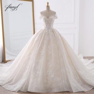 Image 1 - Fmogl סקסי מתוקה תחרת כדור שמלת חתונת שמלות 2020 Applique חרוזים פרחי קפלת רכבת הכלה שמלת Vestido דה Noiva