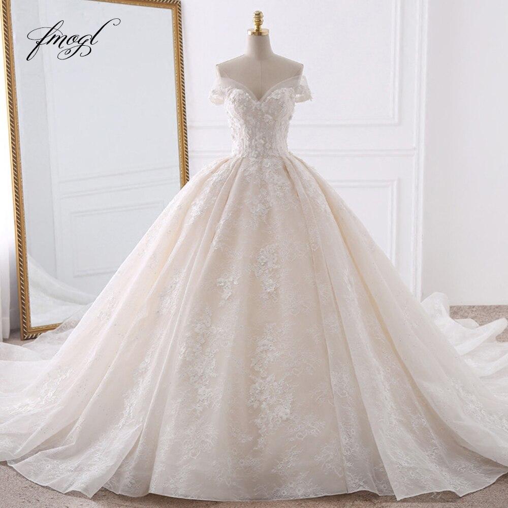 Fmogl Sexy Querida Lace vestido de Baile Vestidos de Casamento 2019 Applique Frisado Flores Capela Trem Vestido de Noiva Vestido De Noiva
