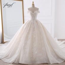 Fmogl Sexy Querida Lace vestido de Baile Vestidos de Casamento 2020 Applique Frisado Flores Capela Trem Vestido de Noiva Vestido De Noiva