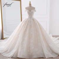 Fmogl Sexy Schatz Spitze Ballkleid Hochzeit Kleider 2019 Applique Perlen Blumen Kapelle Zug Braut Kleid Vestido De Noiva