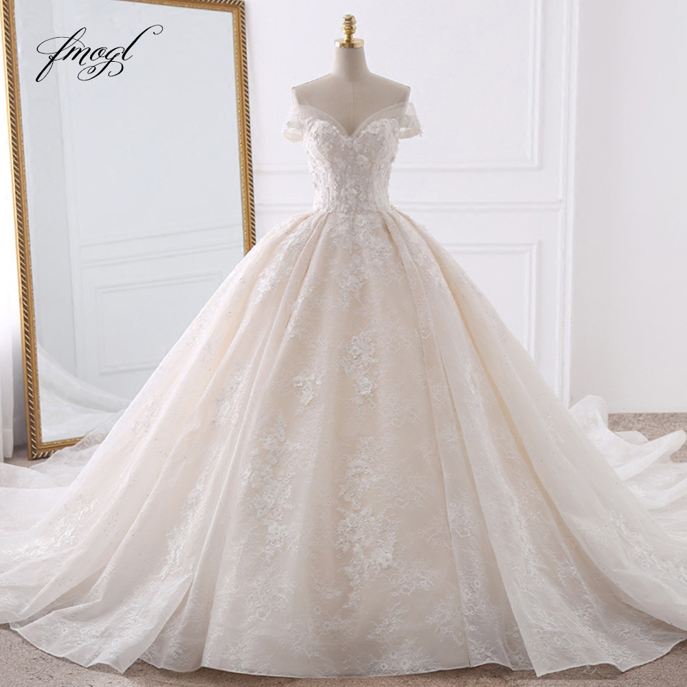 Fmogl Sexy Sweetheart Lace Ball Gown Wedding Dresses 2020 Applique Beaded Flowers Chapel Train Bride Gown Vestido De Noiva