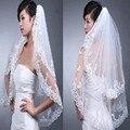2 Layers New Elegant Lace White Wedding Bridal Bride Veil Comb Free Shipping