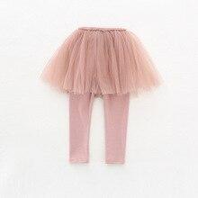 2018 New Spring Autumn Girls Pants Baby Girls Legging Tutu Layer Skinny Princess Party Skirt Legging DQ692