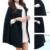Mujeres Moda Color Negro Batwing Poncho de Lana Chaqueta de Invierno Cálido Abrigo Del Cabo Del Capote Flojo Outwear Parka