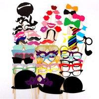 58Pcs Photo Booth Props DIY Mustache Lips Wedding Party Photobooth Props Hats Glasses Wedding Party Decoration