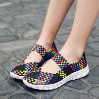 Urbutifo Summer Colourful Casual Shoes Woman Soft Bottom Flats Shoes For Ladies Mesh Breathable Braided Shoes Obuwie Damskie
