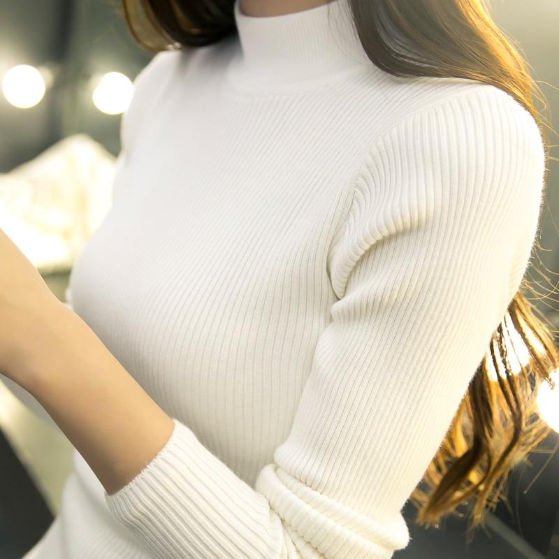2017 new winter Korean Short semi Turtleneck Shirt sleeved turtleneck sweater coat fit