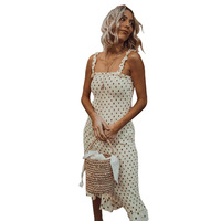 Womens Holiday Polka Dot Low cut Bodycon Evening Party Knee Length Dress Women Ruffles Sleeveless Dot Dress 80s