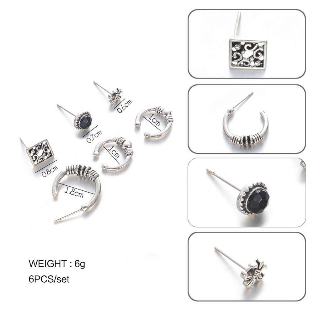 6ชิ้นBohoต่างหูชุดสีดำหินโบราณทิเบตเงินต่างหูสตั๊ดสำหรับผู้หญิงเครื่องประดับวินเทจใหม่