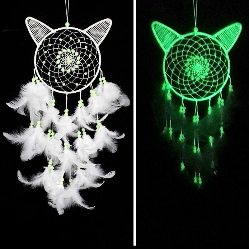 White Cat Dream Catcher Feather Bead Wall Car Hanging Decoration Ornament Wind Chimes Hanging Dreamcatcher Craft Gift Home Decor