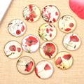 reidgaller Mixed Round Dome Flatback Vintage Flower Photo Glass Jewelry Pendant Cabochon 10mm 12mm 14mm 18mm 20mm 25mm