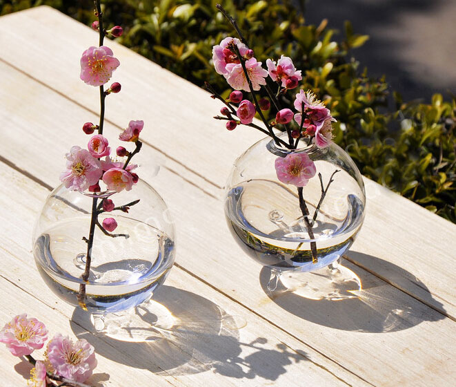 Crystal glass vase with foot flower pots planters home for Jardin glass vases 7 in