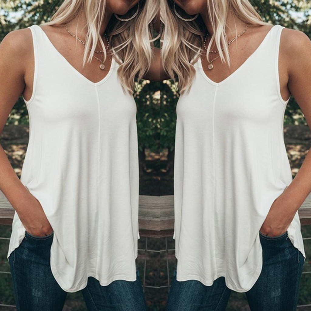 Plus Size 5XL Summer Fashion Casual Pure Color Tops Camis Vest Tee Top Female Women's Sleeveless Shirt Blusas Femininas Clothing(China)