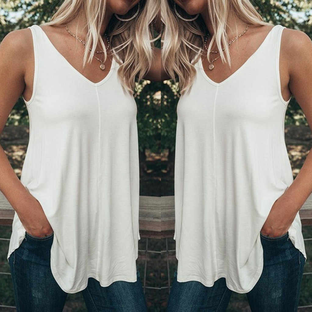 Plus Size 5XL Summer Fashion Casual Pure Color Tops Camis Vest Tee Top Female Women's Sleeveless Shirt Blusas Femininas Clothing