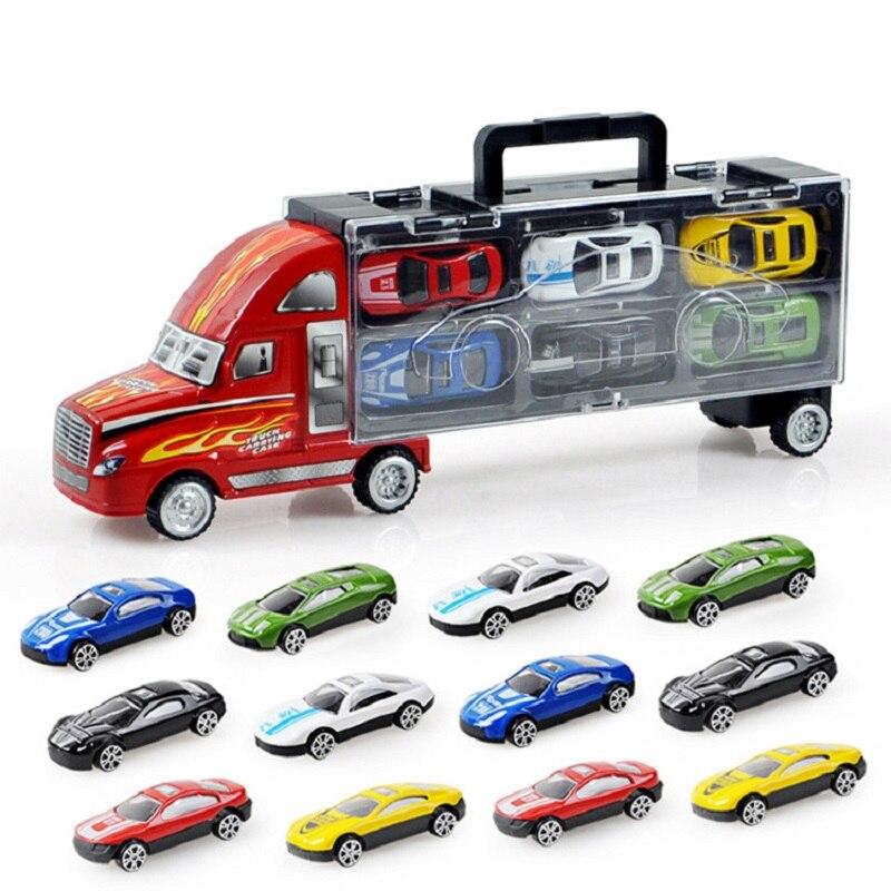 Kids Toys 1 pcs Truck + 12 pcs Sedan Alloy Car Model Truck Cargo Metal Car Plastic Container Portable Boy Gift Toy for Children