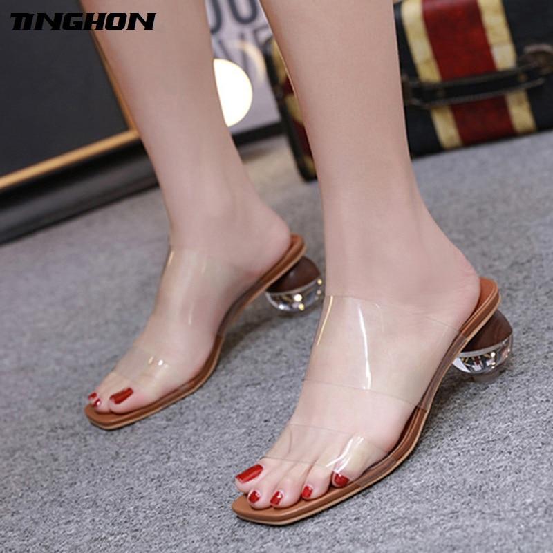 TINGHON Sexy Leopard High Heel 7CM Sandals Geometric Women Transparent PVC Elegant Ladies Shoes