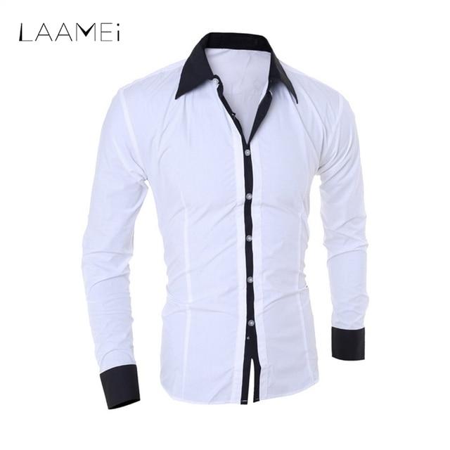 Laamei модный пэчворк рукав рубашки Для мужчин с длинным рукавом Рубашки с отложным воротником мужской тонкий Повседневное платье в деловом стиле рубашка сорочка