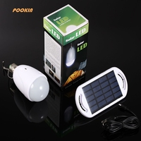 Rechargeable E27 Led Solar Lamp With AC 90 260V DC 6V Light For Indoor Outdoor Home