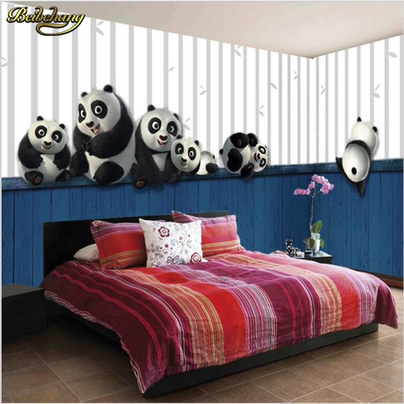 bedroom panda sofa wall male mural 3d backdrop children beibehang stereo wallpapers papel parede
