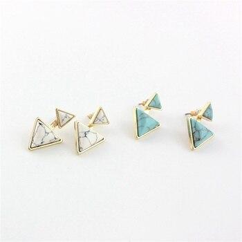 Pendientes triángulo Vintage de mármol blanco verde adornos de piedra Natural Color dorado Brincos Pendientes joyería para mujer