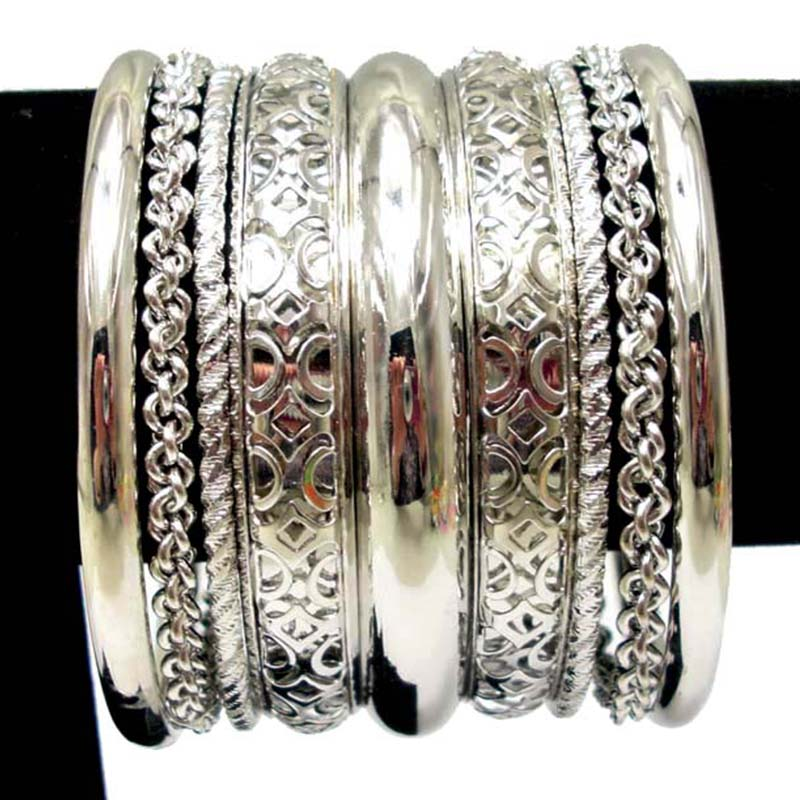 Bracelet Bangles Pulseiras Silver Plated Bracelets For Women Costume Luxury Metal Bangle Set Fashion Indian Jewelry In From