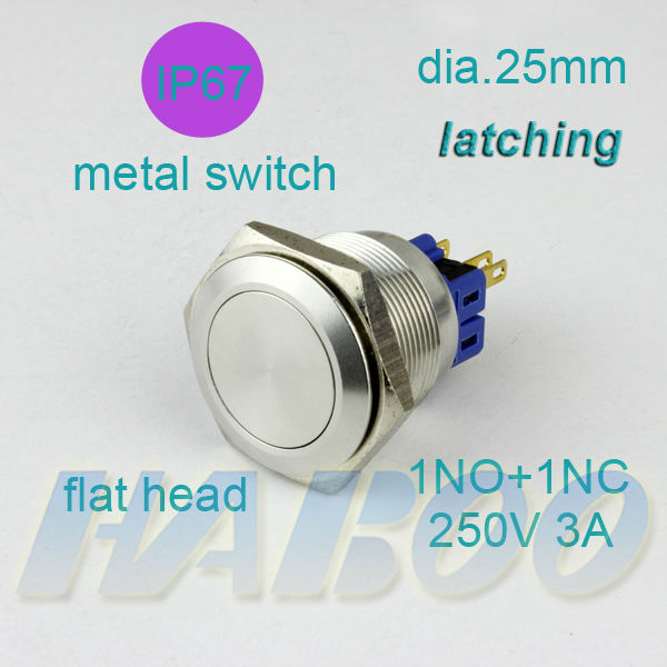 10pcs/lot HABOO P25mm sereies anti vandal stainless steal push button switch on-off metal switch IP67 latching switch 250V 3A