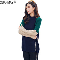 Autumn Women Long Sleeves Sweaters And Pullovers Korean Fashion Ladies Round Neck Pullover Leisure Green