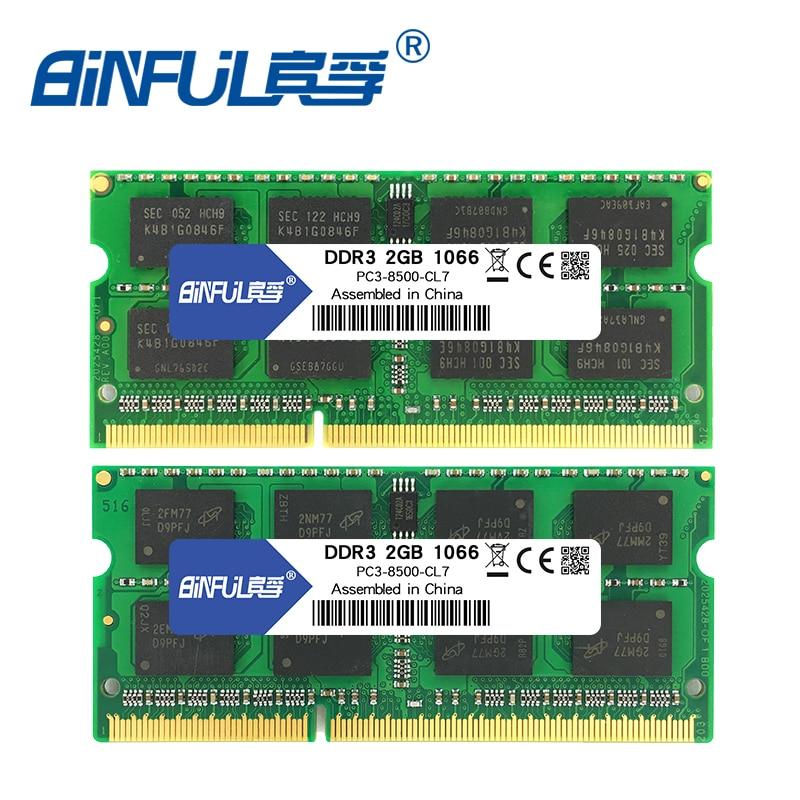 BINFUL Brand New Sealed DDR3 2GB 4GB 1066mhz 1333 1600 PC3-12800/8500/10600 Laptop RAM Memory /Lifetime warranty Free Shipping