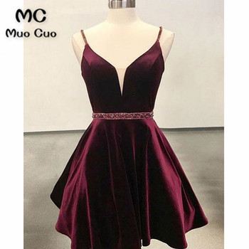 2018 A-Line Beaded Homecoming dress Short with Crystals Deep V-Neck Satin Cocktail party dress short homecoming dress