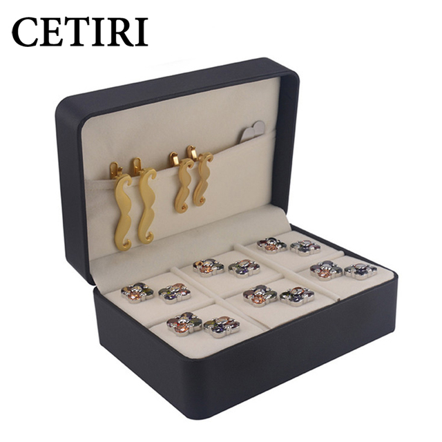 CETIRI Designer Cufflinks And Tie Clip Box Storage Case Jewelry High Quality Plastic Special Paper Cuff Links Gift Box For Men