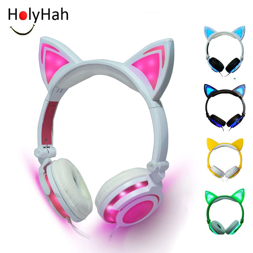 Holyhah 2019 Foldable Colorful Flashing Glowing Led Light Cartoon Gaming Headset Earphone  Cat Ear Headphone For Adult Child