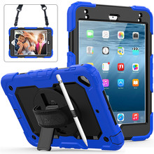 "Case For iPad mini 4 mini5 2019 7.9"" Cover Pencil Holder For iPad mini 5 A2133 Kids Safe Shockproof Armor cover+Hand wrist+Film"