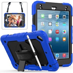 "Image 1 - Case For iPad mini 4 mini5 2019 7.9"" Cover Pencil Holder For iPad mini 5 A2133 Kids Safe Shockproof Armor cover+Hand wrist+Film"