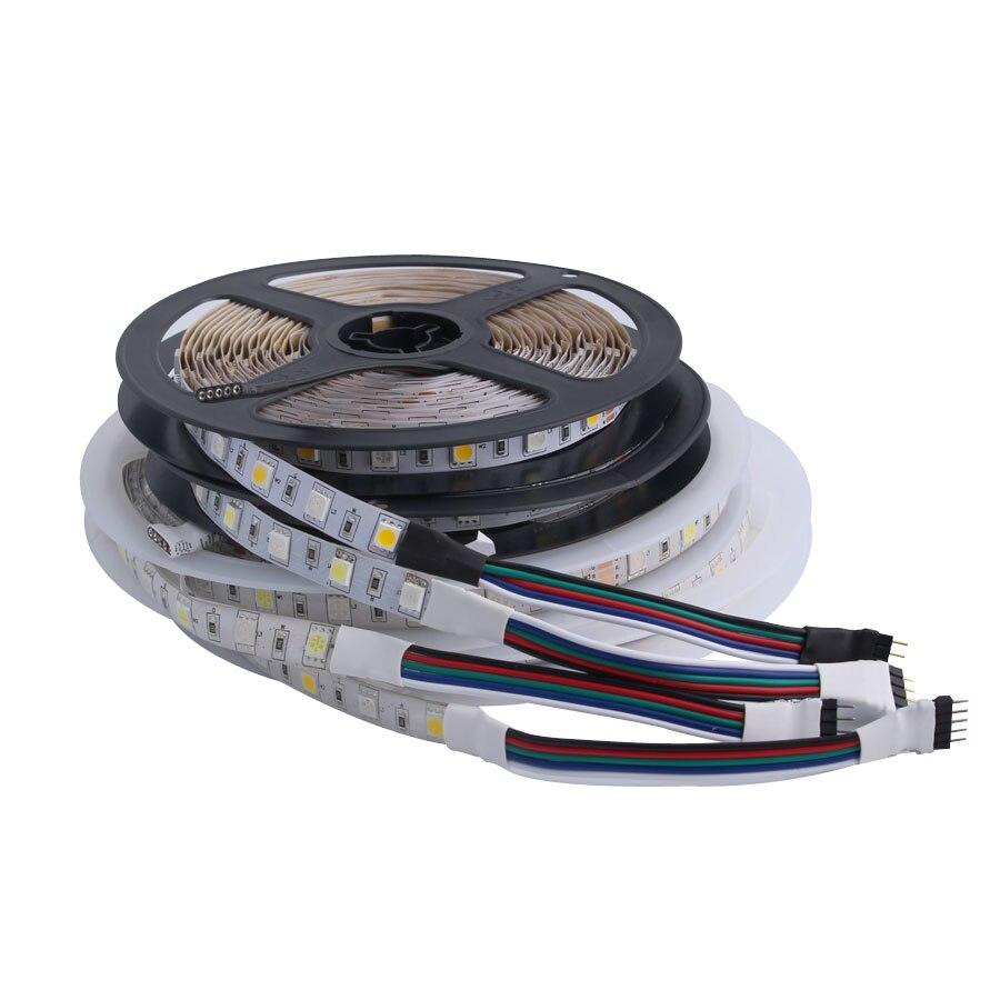 12 V 1M Strip Led Light Tape SMD 5050 Warm White Waterproof 60LED/M 12V Led Light Strip Tape Lamp Diode Ribbon Fleible For Party