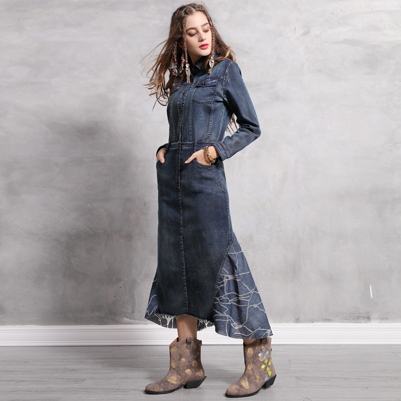 2019 Spring Women Dresses Denim Spliced Pockets Vintage Slim Asymmetrical Turn Down Collar Retro Solid Color