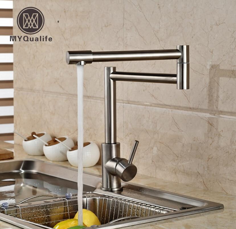 Матовый Никель складной стрейч Кухня кран Палуба Гора одной ручкой вращения Кухня смеситель с горячей и холодной воды краны