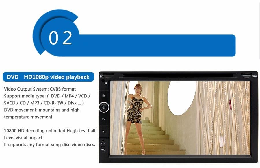 Универсальный 2 DIN / МР3 / мр5 /USB / памяти SD / плеер громкой связи Bluetooth заднего вида после Сенсорный экран HD система Радио BT(нет DVD нет GPS