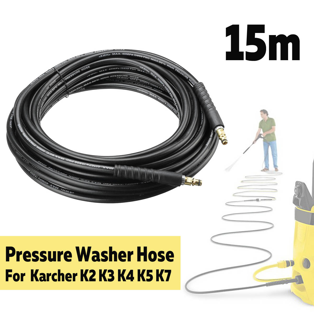 15m 40MPa 5800PSI High Pressure Washer Hose Pure Copper Cleaning Tube Car Wash Extension Hose Cord For Karcher K2 K3 K4 K5 K7(China)